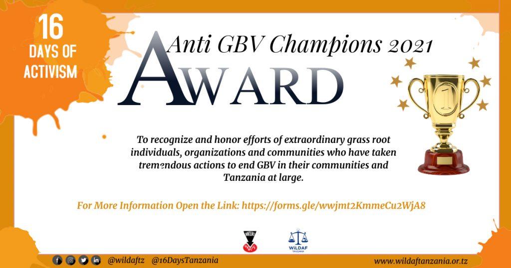 Anti Gender Based Violence(GBV) Champions Awards Nomination Form